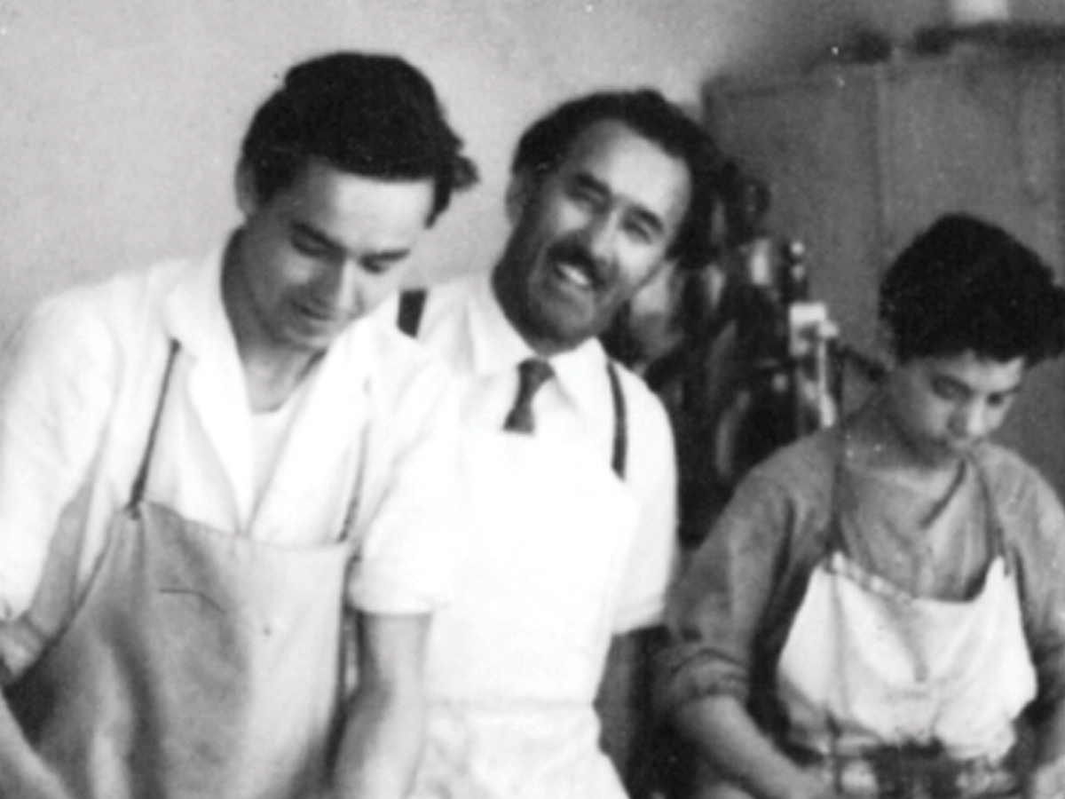 Loacker family old picture with pastry chefs Alfons and Armin in the bakery shop in Bolzano - Loacker
