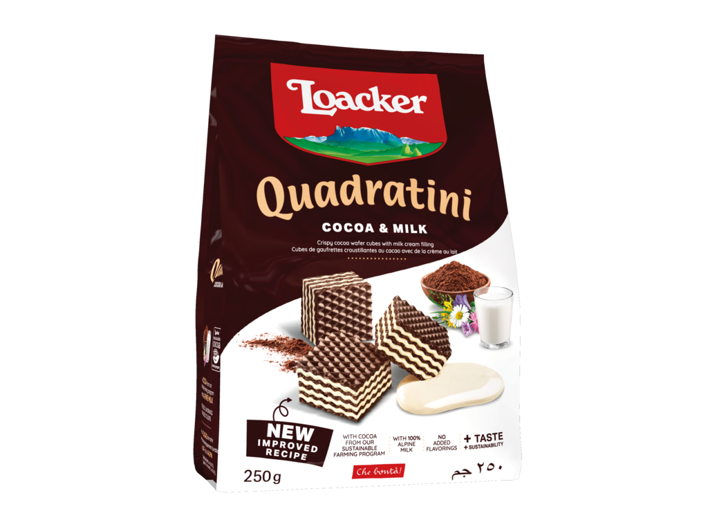 Wafer Quadratini Cocoa & Milk - con Cacao e Latte
