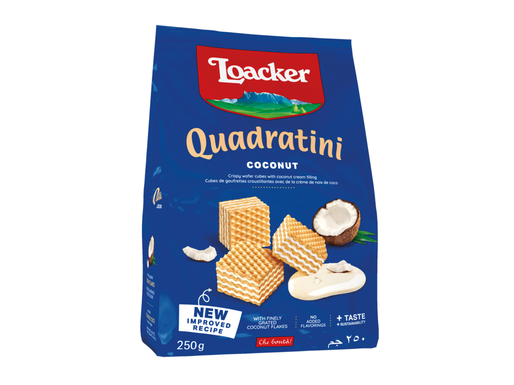 Wafer Quadratini Coconut – with exotic Coconut