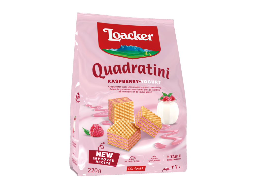 Wafer Quadratini Raspberry-Yogurt - con Lampone e Yogurt
