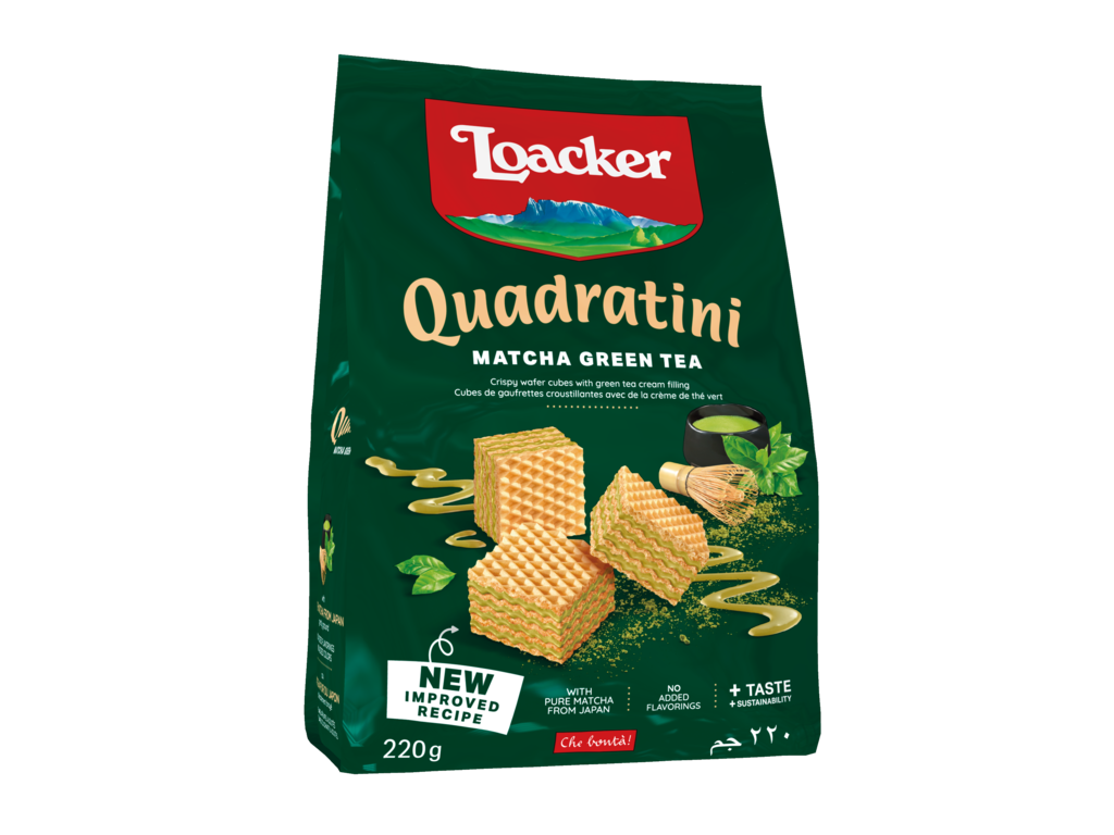 Wafer Quadratini Matcha – with precious Green Tea
